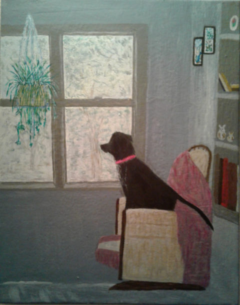 Aspen, Watches patiently for Grandma to come take her to the park.  11x14 Acrylic Canvas