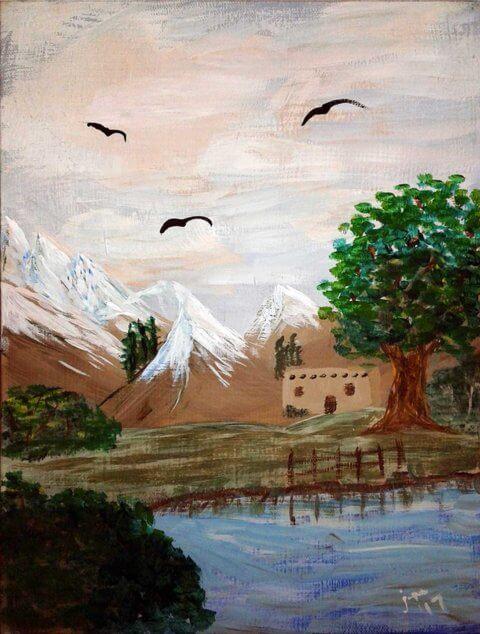 Solitary Homestead 9x12 Acrylic Canvas