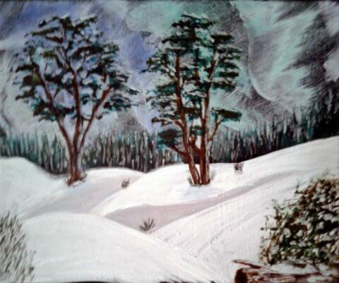 Aurora Borealis Snowscape 9x12 Acrylic