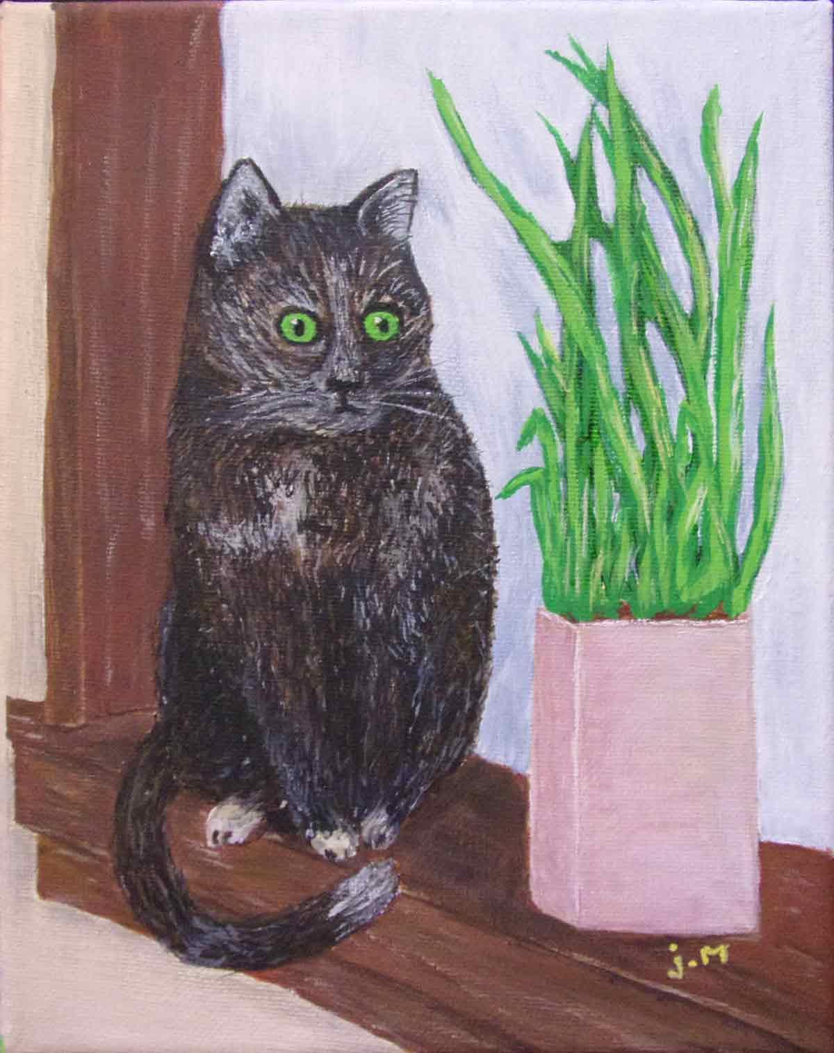 Sparrow, Office Cat, applying an artist's talent for keen observation.