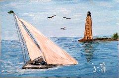 Sailboat and Lighthouse 4x6 Acrylic